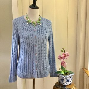 LL BEAN Light Blue Cotton Cable Knit Cardigan